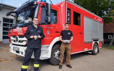 Feuerwehr Hustedt bekommt Mund-Nasenschutz von Firma FireBeCondA GmbH gesponsert